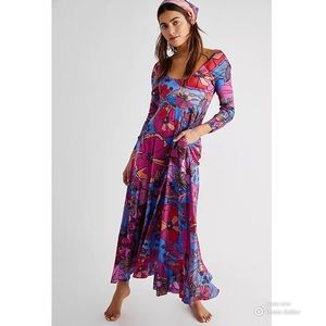 New FREE PEOPLE First Date Floral Maxi Dress XS